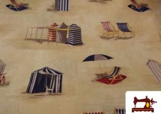 Comprar Tela Estampada con Tumbonas en la Playa
