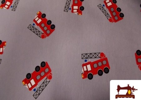 Camiseta de Algodón con  Tractores y Camiones de Bomberos
