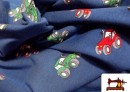 Tela de camiseta de Algodón con motivos de Tractores y Camiones de Bomberos
