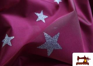 Comprar Tela de Raso con Estrellas Purpurina Plateadas