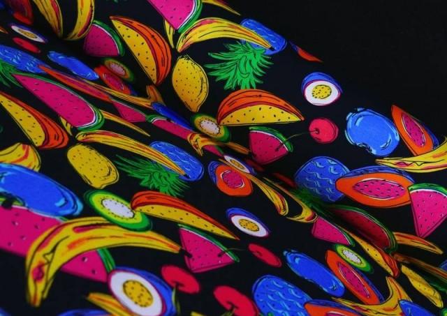 Tela de Punto de Camiseta Frutas Tropicales