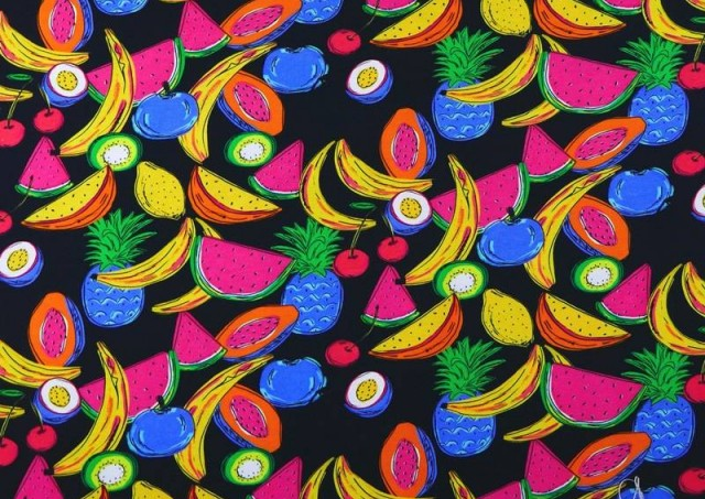 Venta de Tela de Punto de Camiseta Frutas Tropicales