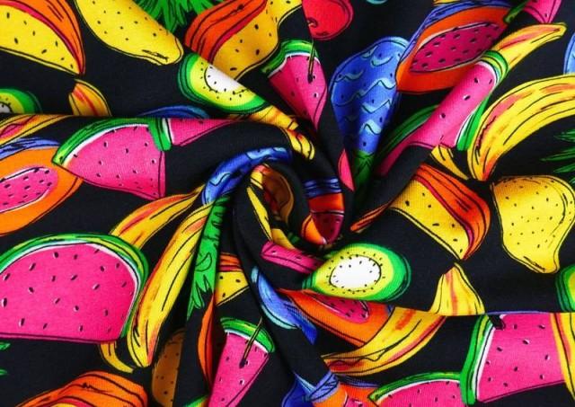 Venta online de Tela de Punto de Camiseta Frutas Tropicales