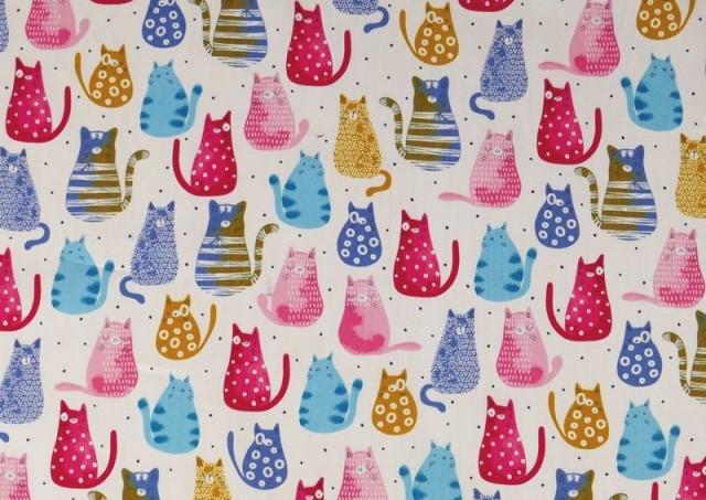 Venta de Tela de Algodón Orgánico Gatos de Colores