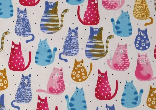 Comprar online Tela de Algodón Orgánico Gatos de Colores