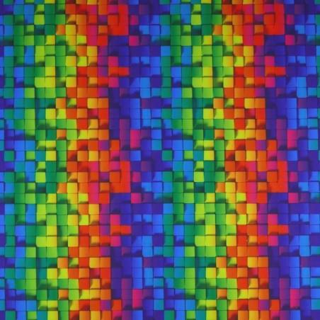 Venta de Tela de SOFTSHELL estampado Cuadros Multicolor