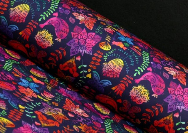 Tela de SOFTSHELL estampado Pájaros Multicolor