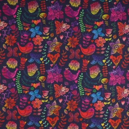 Venta de Tela de SOFTSHELL estampado Pájaros Multicolor