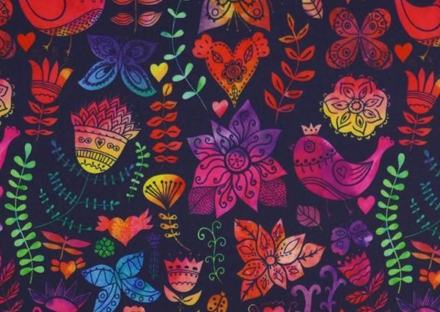 Comprar online Tela de SOFTSHELL estampado Pájaros Multicolor