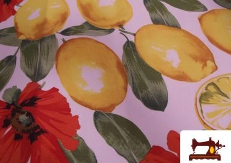 Tela con Limones y Flores