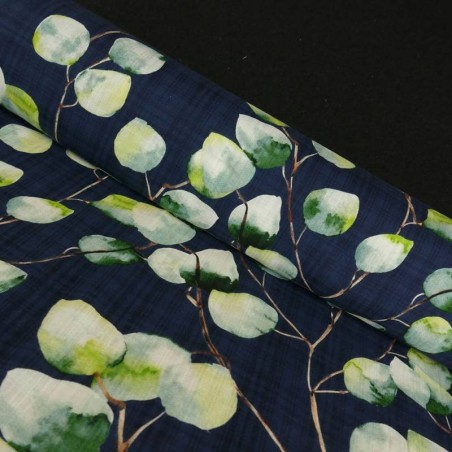 Tela de Lino de Algodón Estampado color Azul Marino