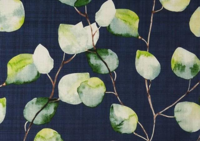 Venta de Tela de Lino de Algodón Estampado color Azul Marino