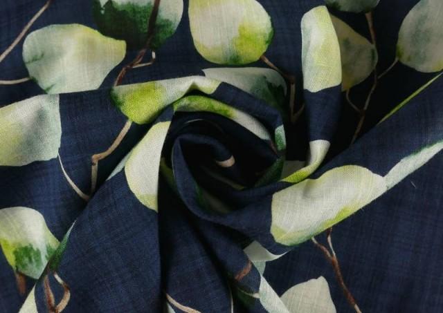 Venta online de Tela de Lino de Algodón Estampado color Azul Marino