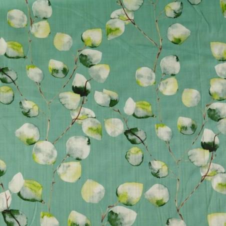 Tela de Lino de Algodón Estampado color Verde