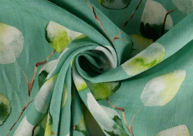 Venta online de Tela de Lino de Algodón Estampado color Verde