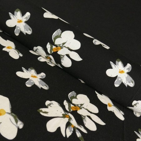 Tela de Lino Viscosa Iris Blanco color Negro