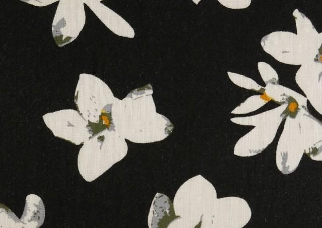 Comprar Tela de Lino Viscosa Iris Blanco color Negro
