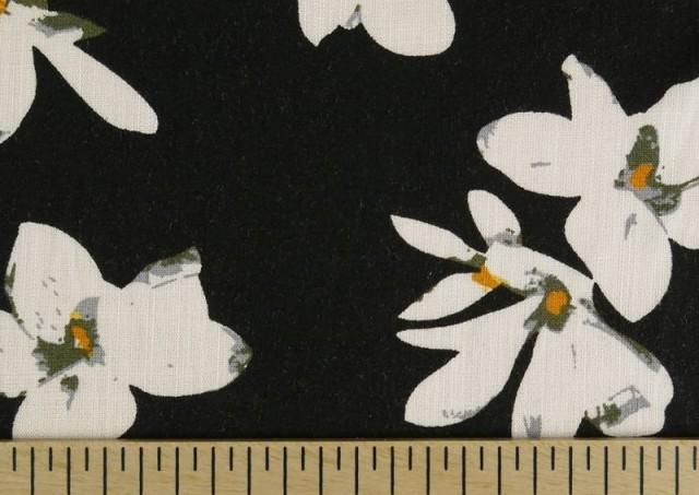 Venta de Tela de Lino Viscosa Iris Blanco color Negro