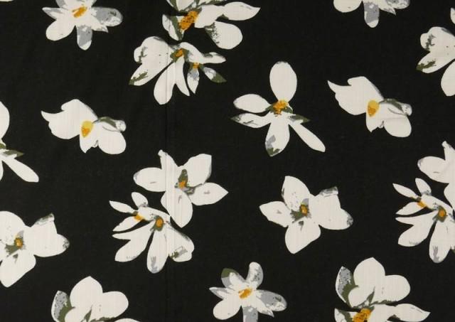 Comprar online Tela de Lino Viscosa Iris Blanco color Negro