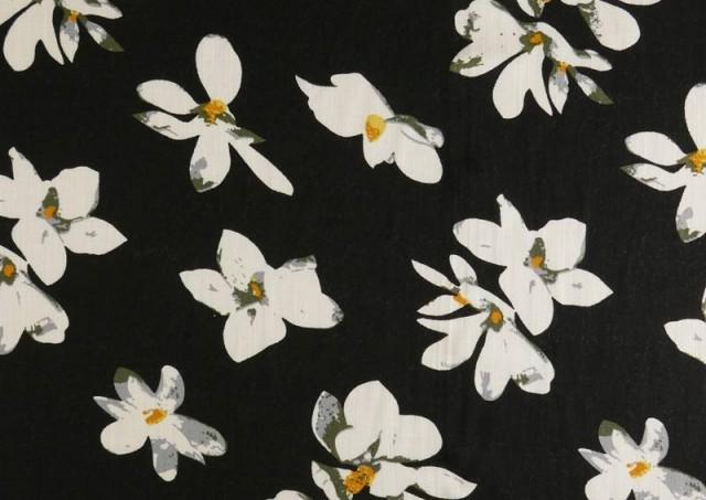 Venta online de Tela de Lino Viscosa Iris Blanco color Negro