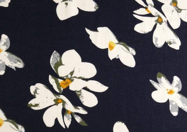 Comprar Tela de Lino Viscosa Iris Blanco color Azul Marino