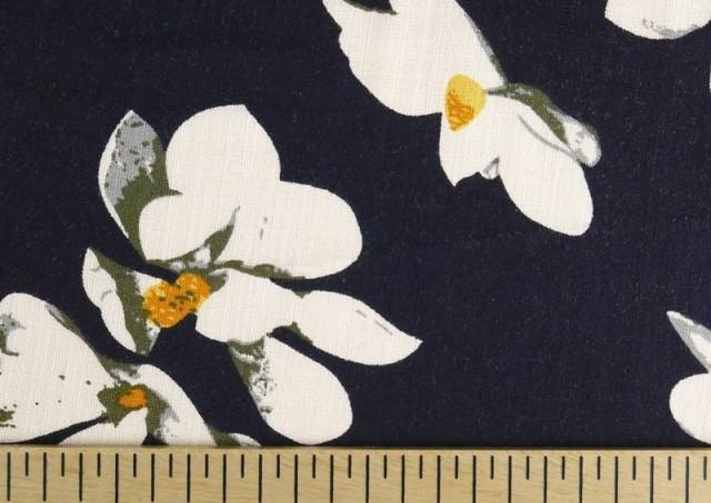 Venta de Tela de Lino Viscosa Iris Blanco color Azul Marino