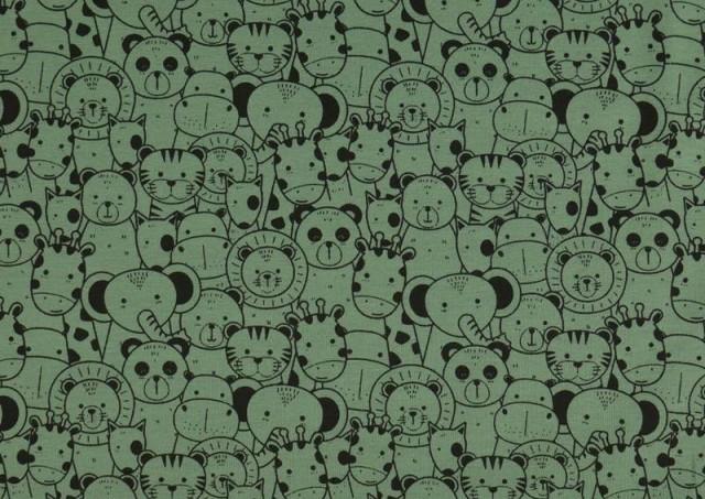 Tela de Punto de Camiseta Estampado Zoológico color Verde