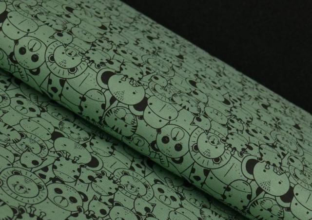 Comprar Tela de Punto de Camiseta Estampado Zoológico color Verde