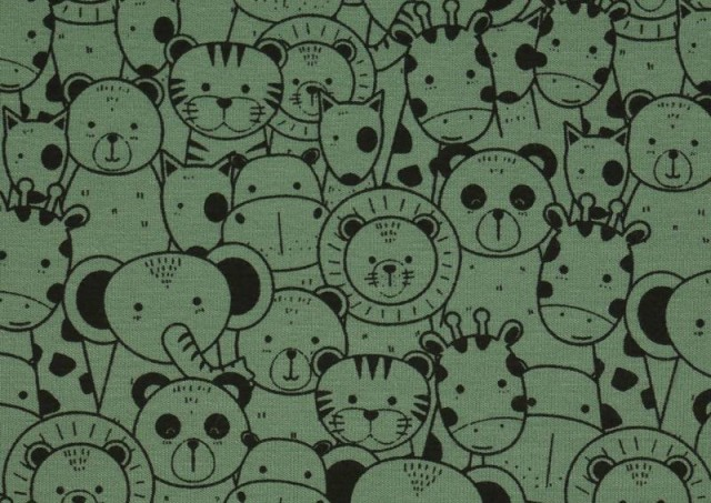 Comprar online Tela de Punto de Camiseta Estampado Zoológico color Verde