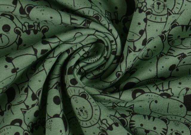 Venta online de Tela de Punto de Camiseta Estampado Zoológico color Verde