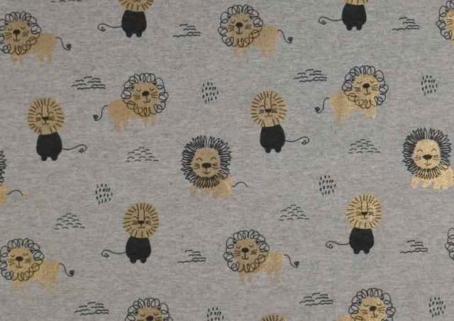 Comprar Tela de Punto de Camiseta Estampado Dorado Leones
