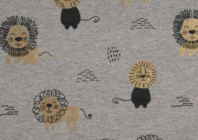 Venta de Tela de Punto de Camiseta Estampado Dorado Leones