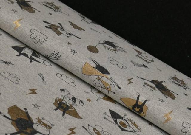 Tela de Punto de Camiseta Estampado Dorado Superheroes Animales