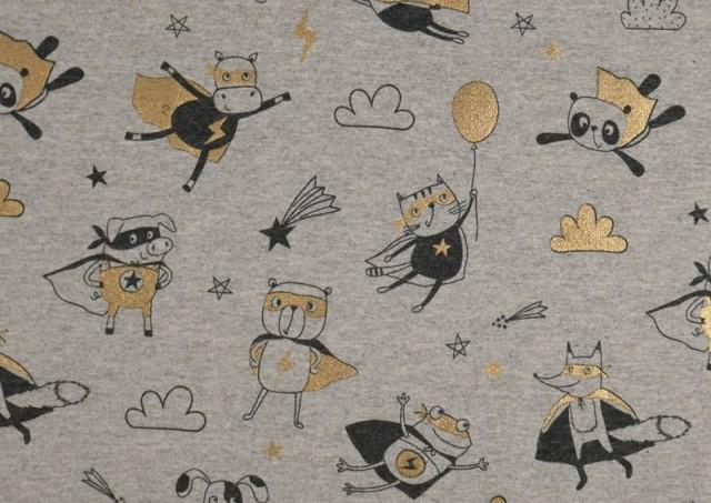 Comprar Tela de Punto de Camiseta Estampado Dorado Superheroes Animales