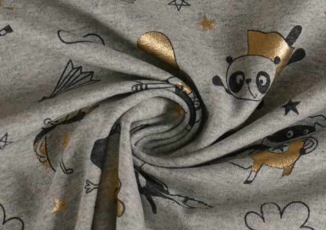 Venta online de Tela de Punto de Camiseta Estampado Dorado Superheroes Animales