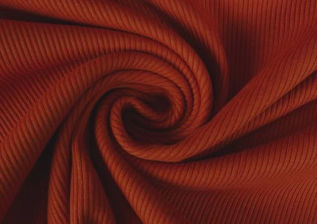 Comprar online Tela de Tricot Punto Canalé - Jersey de Verano color Teja