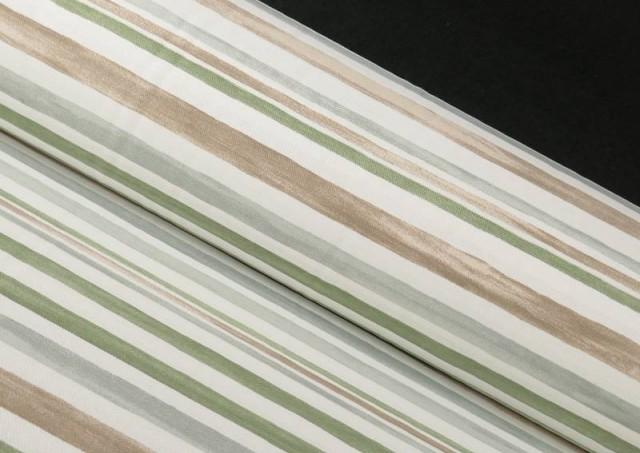Tela de Loneta Estampado Rayas Verde Suave