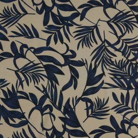 Tela Crespón Floral Hojas Azules