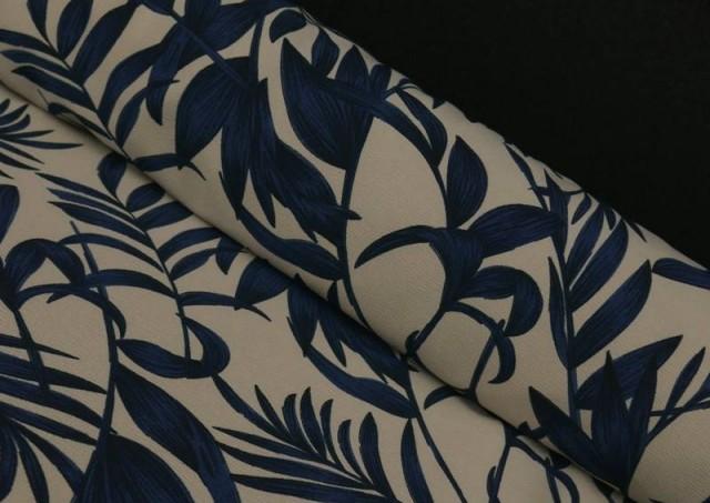 Comprar Tela Crespón Floral Hojas Azules