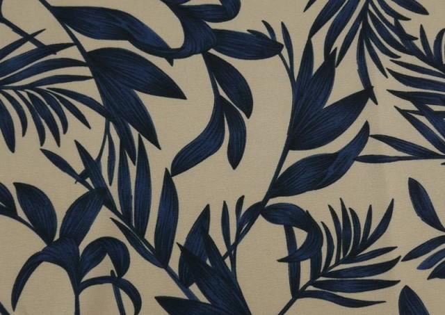 Venta de Tela Crespón Floral Hojas Azules