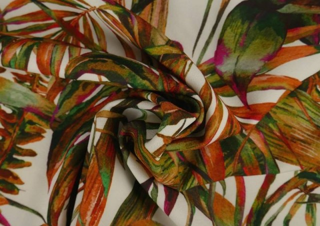Venta online de Tela Crespón con Lycra Tropical color Naranja