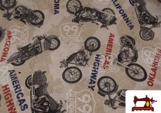 Tela de algodón estampado speedway motor race vintage