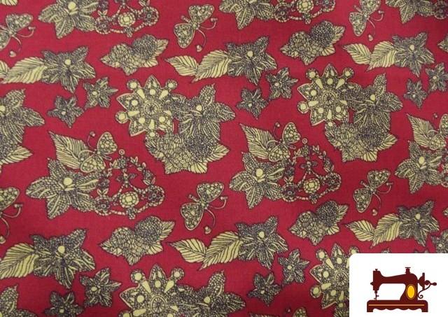 Retal de tela roja con estampado vintage for Telas vintage