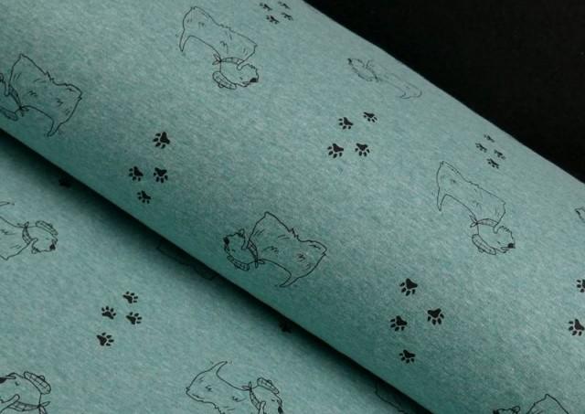 Tela de Sudadera Flannel Perros y Huellas color Azul