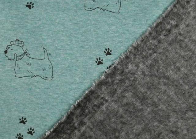 Comprar online Tela de Sudadera Flannel Perros y Huellas color Azul