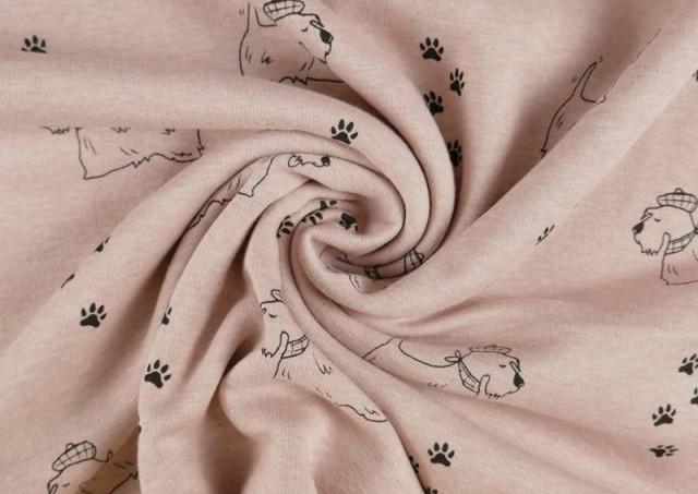 Tela de Sudadera Flannel Perros y Huellas color Rosa pálido