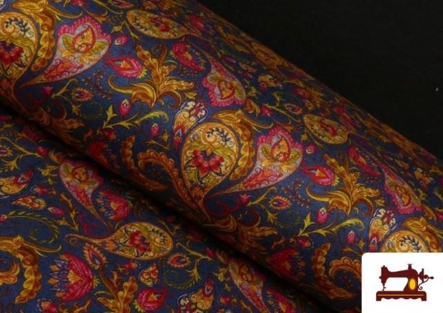 Tela de Punto Interlock Estampado Cachemir Floral color Azul