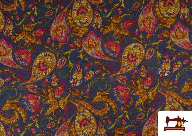 Comprar Tela de Punto Interlock Estampado Cachemir Floral color Azul