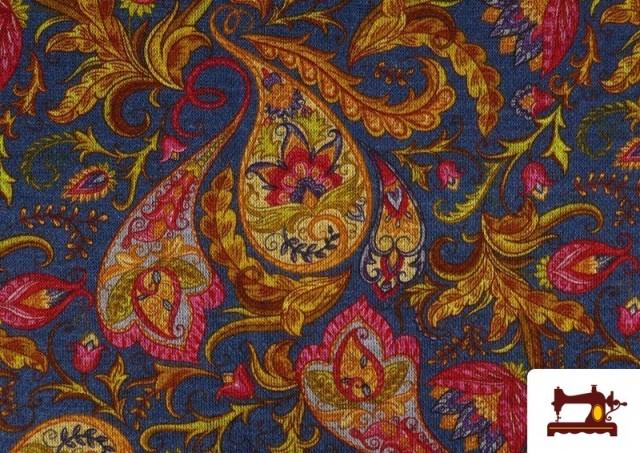 Venta de Tela de Punto Interlock Estampado Cachemir Floral color Azul