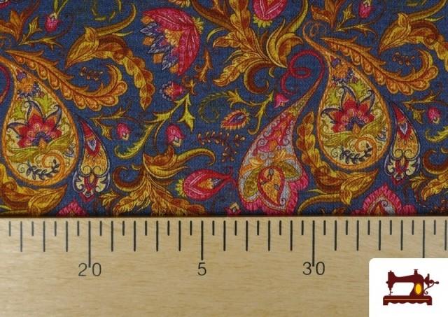 Comprar online Tela de Punto Interlock Estampado Cachemir Floral color Azul